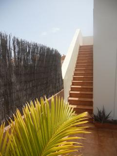 Steps up to the roof terrace sun trap