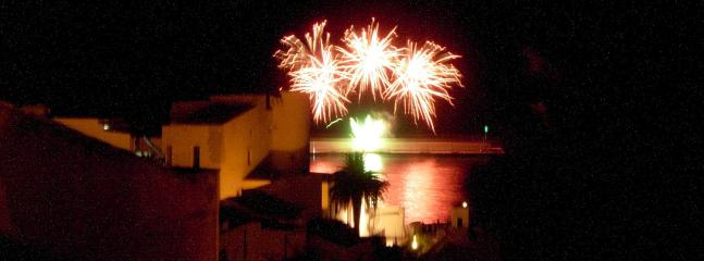 Fireworks on the harbour as viewed from the terrace
