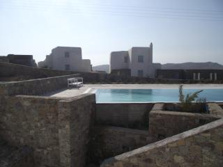 View of the swimming pool and garden from the villa