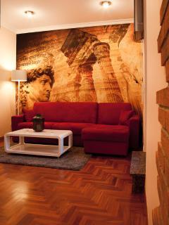 Il soggiorno con le immagini dell'antica Roma