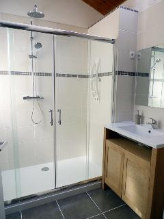 Newly refitted bathroom, with Double shower cubicle