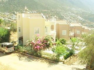 Cool,bright spacious cream marble interiors Garden fringed poolside. Central yet private. Sea views