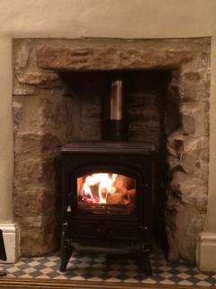 The log burning stove chucks out plenty of heat on a cold winter's night!