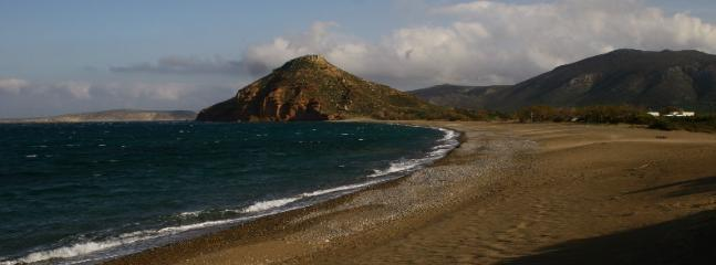 Beautiful long Kouremenos Beach, the absolute best for windserfing