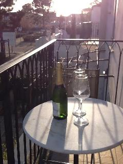 Winter sunset on the balcony Which overlooks the pretty garden perfect for evening drinks champagne