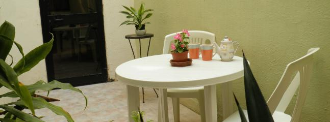 Inner courtyard breakfast table