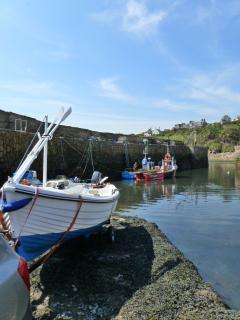 The launching of our boat at Crail Harbour
