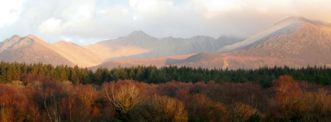 Macgillycuddy Reeks in winter sunshine