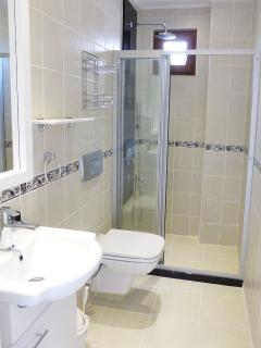 New en- suite withdrench shower , vanity basin and back to wall WC