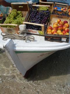 fruit- boat on the beach