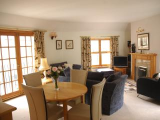 double aspect sunny sittingroom with open gas fire and french windows