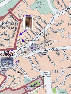 Location map shows how close we are to Bab Bolujloud and the markets