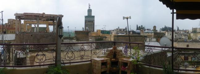 Views from the terrace, and there is the Minaret of Medersa Bouanania