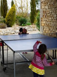 Toddler ping pong match