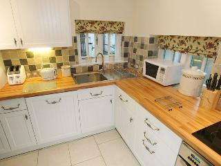 Kitchen with full size fridge and freezer dishwasher and microwave . Everything for your stay .