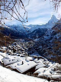 Just below the chalet there are fabulous views over the rooftops of Zermatt