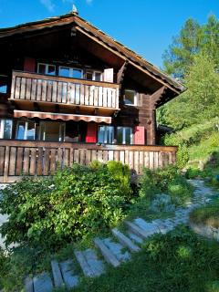 Completely surround by green and a large private garden in front of the chalet