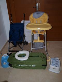 Equipment for young children supplied, travel cots, bed rails, highchairs etc
