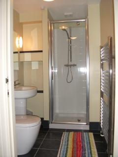 The shower room downstairs, with sink to left, shower and heated towel-rail