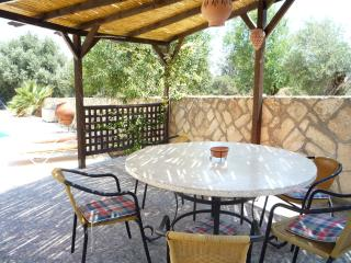 Gazebo with round table that seats 8.