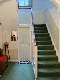 Quirky entrance hallway door, in main house. With classic Georgian archway ceiling.