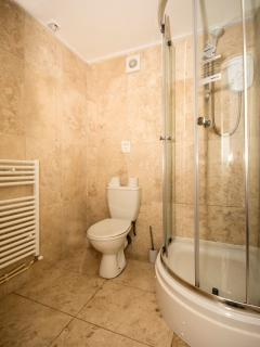 The bathroom with toilet, shower & sink