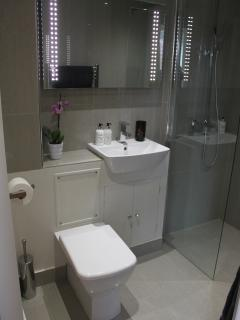 En suite shower room for master bedroom with underfloor heating
