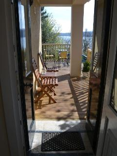 Straight out to the decking,the view and all that Arran has to offer you on your holiday