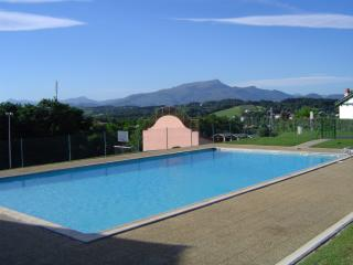 Pool, Fronton and Pyrenees in background