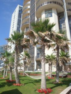 Relax in the Gorgeous Garden above the Beach & Sea.  Flat is visible on 16th floor of the 2d tower.