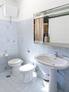 Family bathroom with shower, bath and bidet.