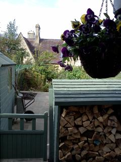 Private cottage garden and  woodstore