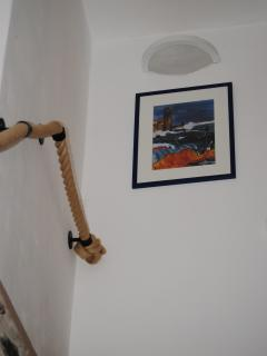 Rope banister on stairs