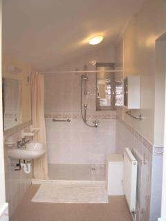 Large walk in shower(shower stool available)