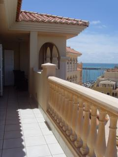 Part of the lower terrace with beautiful views looking to the sea & Port.