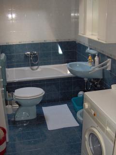 Family bathroom with bathtube & washmachine