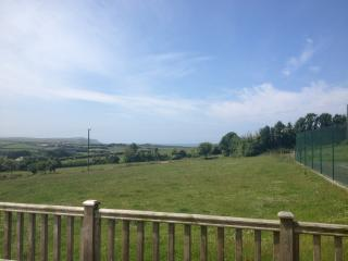 Looking out over the fields to the sea. Great views from the tennis court too.