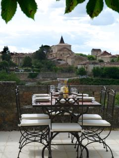 Stunning views to Monpazier as you dine on the west terrace