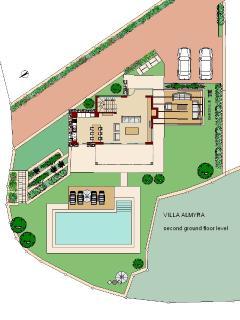 Almyra residence Pool area level -open plan living area