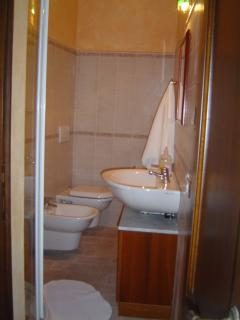 Ensuite bath in second king bedroom with walk-in shower.