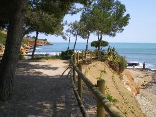 The closest beach with blue sea, rock pools and a lovely cafe serving chilled beer and wine