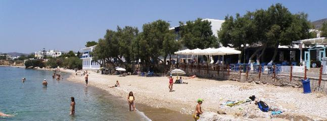 Drios Beach and tavernas in July