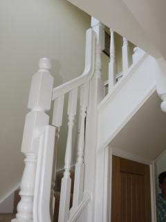 Staircase with kite winders to galleried landing