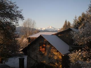 Pyrenees Farmhouse - View over house of the Pic-du-Midi in Winter.