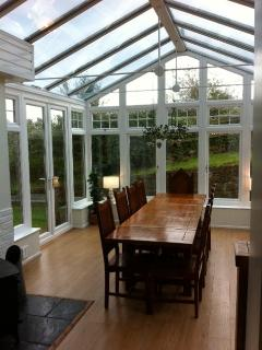 Oak Dining Table in Conservatory