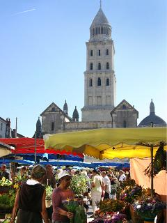 The Perigueux market with local produce in front of the XII-XVI C. cathedral