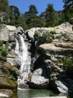 waterfall on a mountain stream in the mountains above Ajaccio