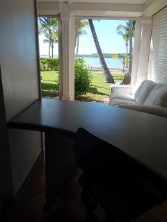 Du bureau, on profite aussi d'une vue très agréable vers le jardin paysagé du Domaine.