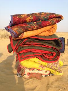 blankets for an overnight stay in the desert