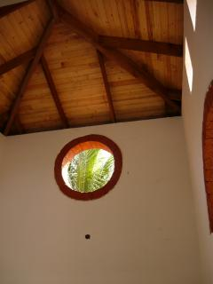 The high wooden ceiling